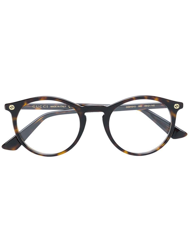 17726af56f Gucci - Brown Gafas con montura redonda - Lyst. Ver en pantalla completa