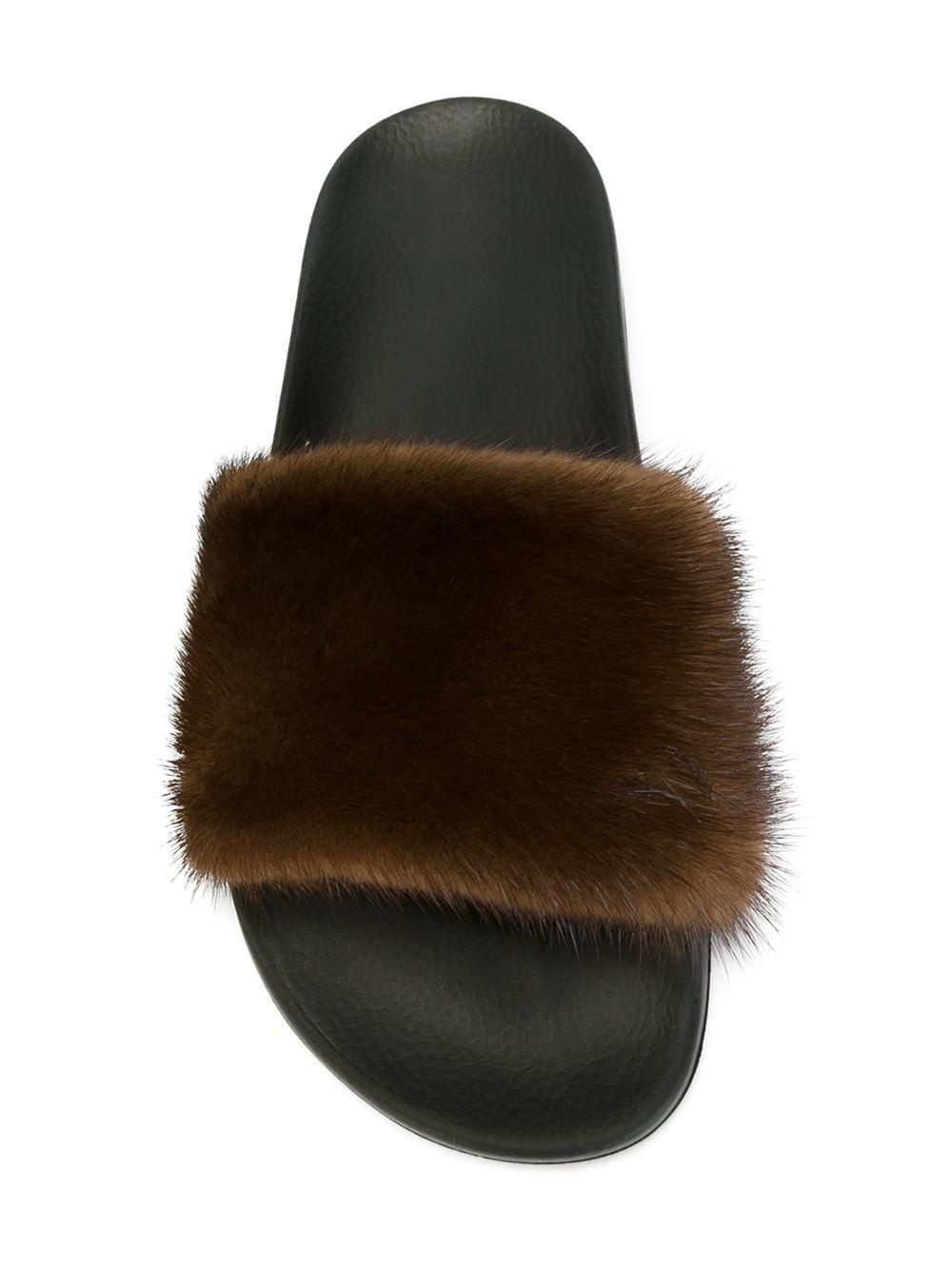 9b0955733f0 Lyst - Givenchy Mink Fur Slides in Black