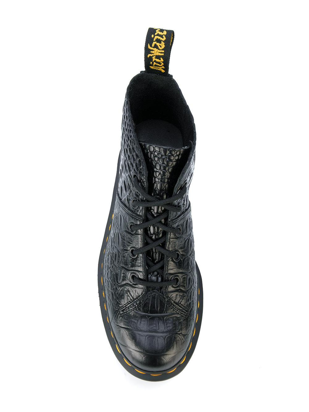 Dr Martens Crocodile Effect Boots In Black Lyst