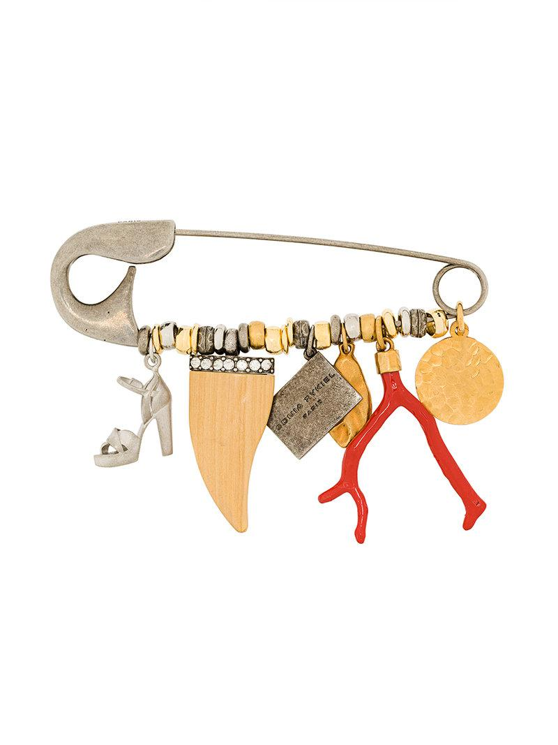 Sonia Rykiel hanging charm pin - Metallic p8YzAQ0