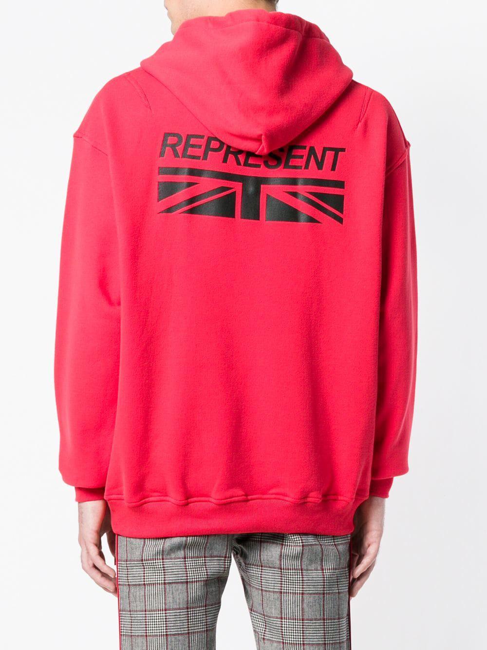 Represent Katoen Hoodie Met Logo in het Rood voor heren
