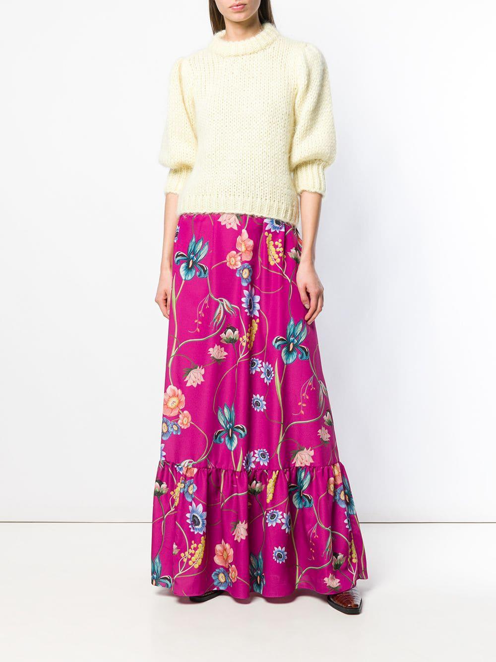 Falda larga Jaqueline Borgo De Nor de Tejido sintético de color Rosa