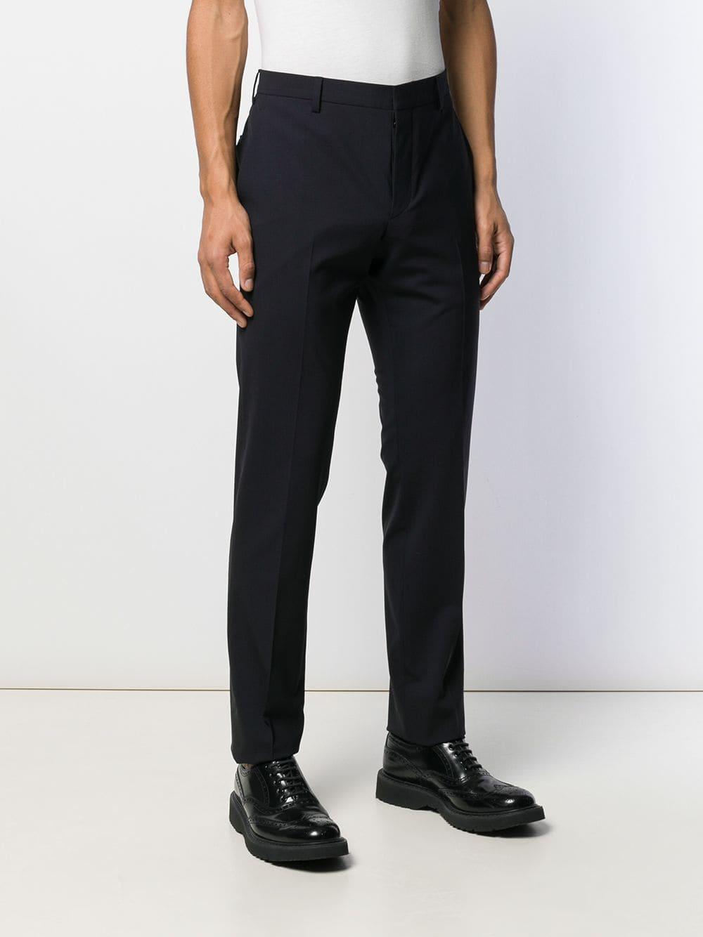 Prada Katoen Straight Pantalon in het Blauw voor heren