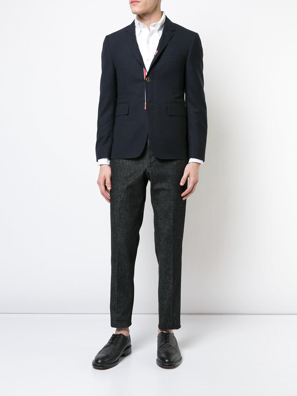 Thom Browne Cotton Tapered Tailored Trousers in Black for Men