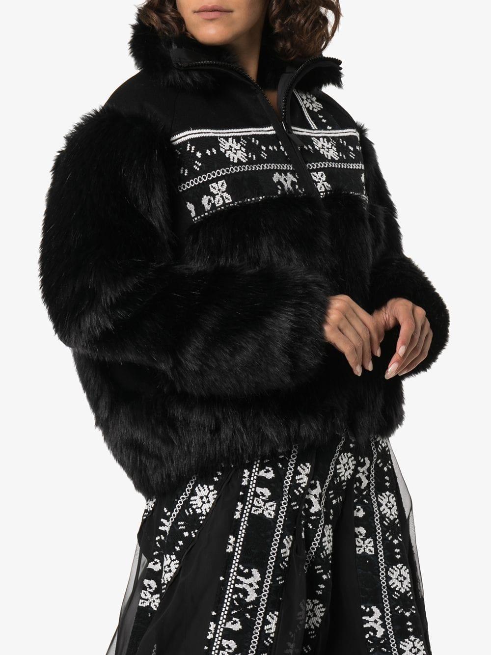 Sacai Jacke aus Faux Fur in Schwarz w406I