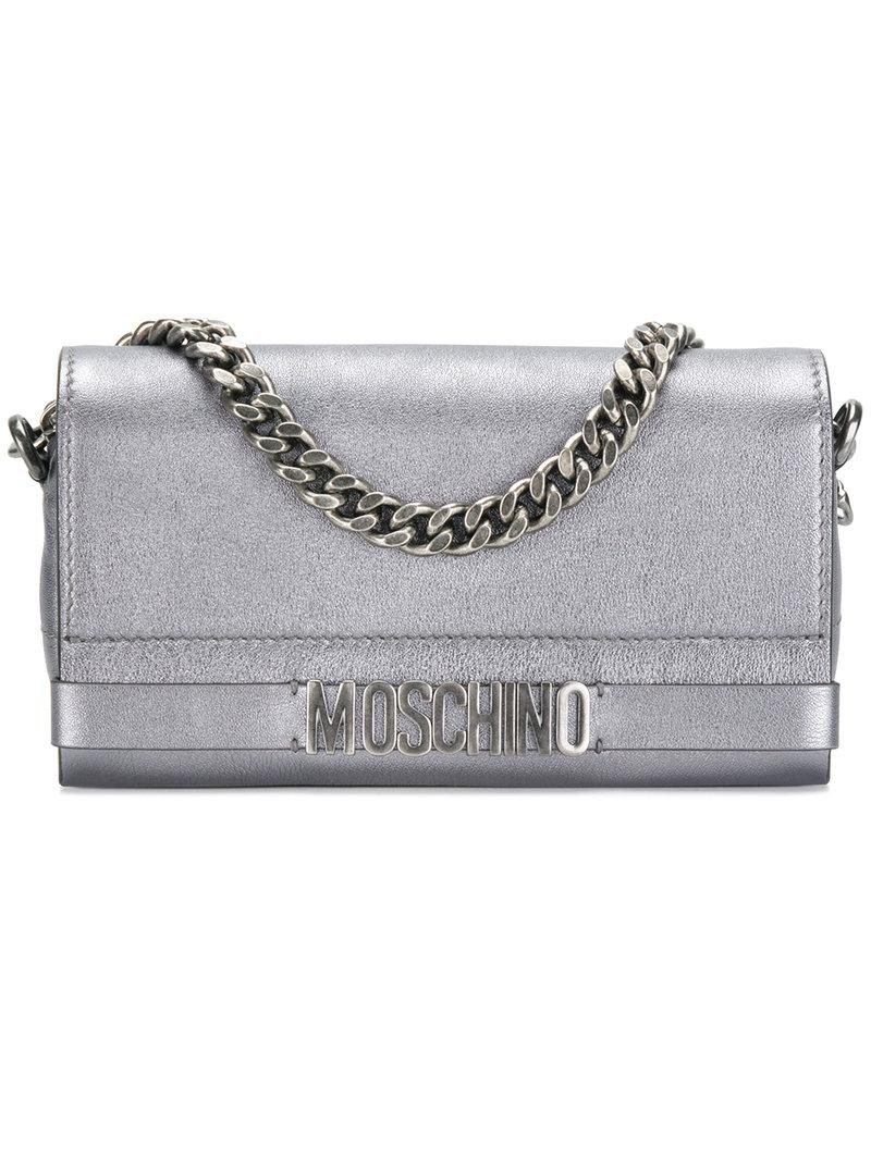 Moschino logo plaque clutch bag - Metallic h3Ec3t