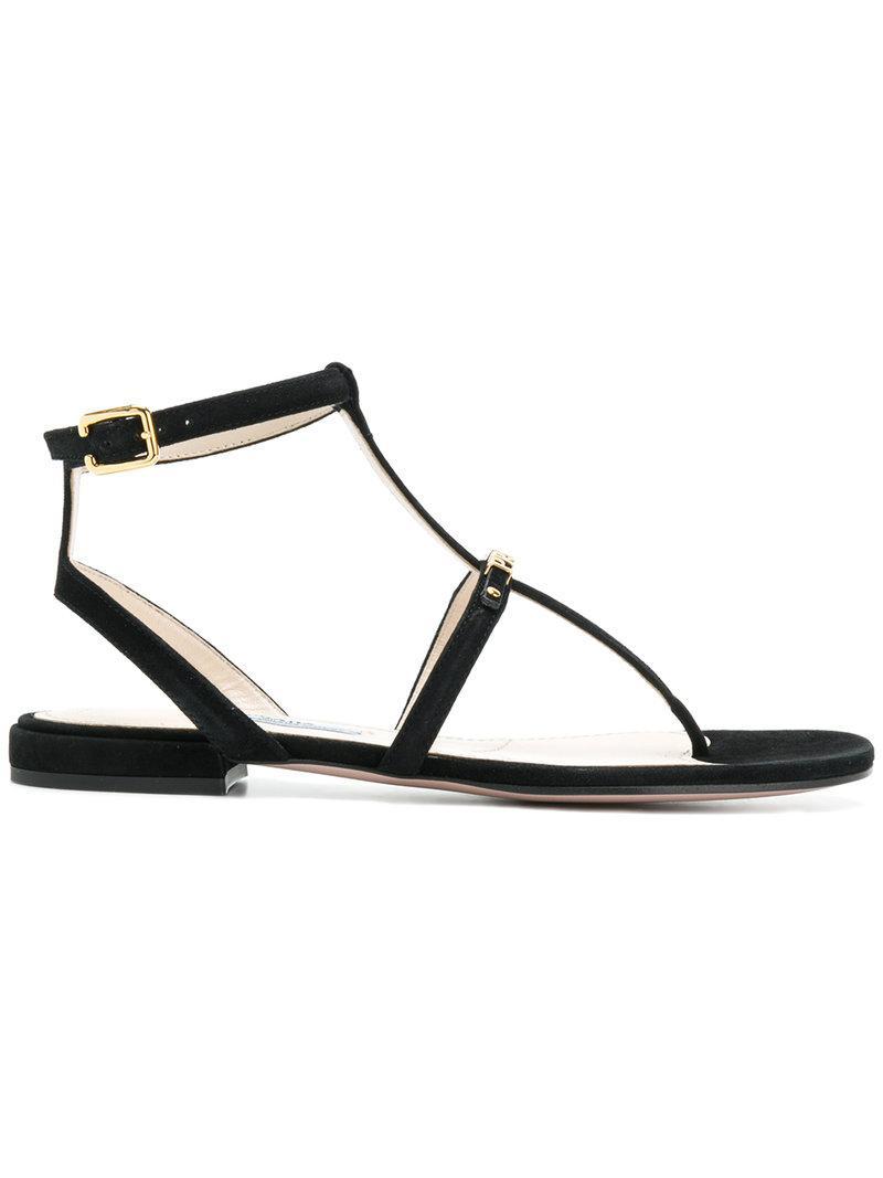 849fb532bfb6 Lyst - Prada Logo T-bar Sandals in Black