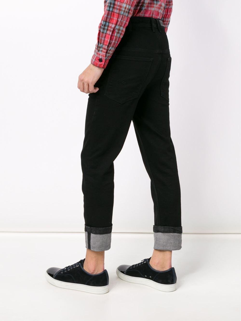 Neil Barrett Denim Cuffed Jeans in Black for Men
