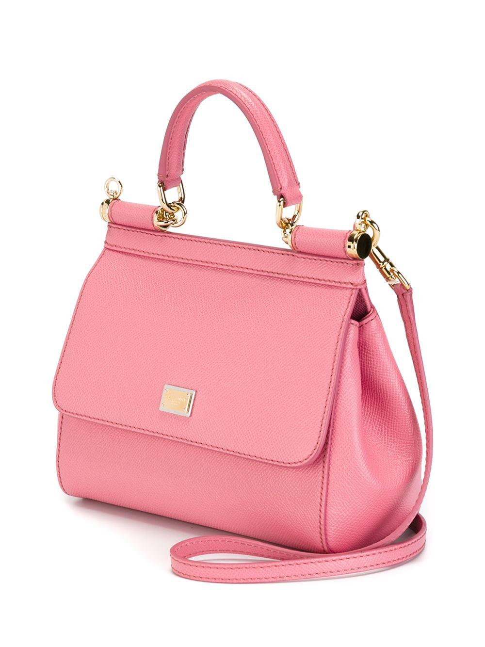 Dolce & Gabbana Leather Small 'sicily' Tote in Pink & Purple (Pink)