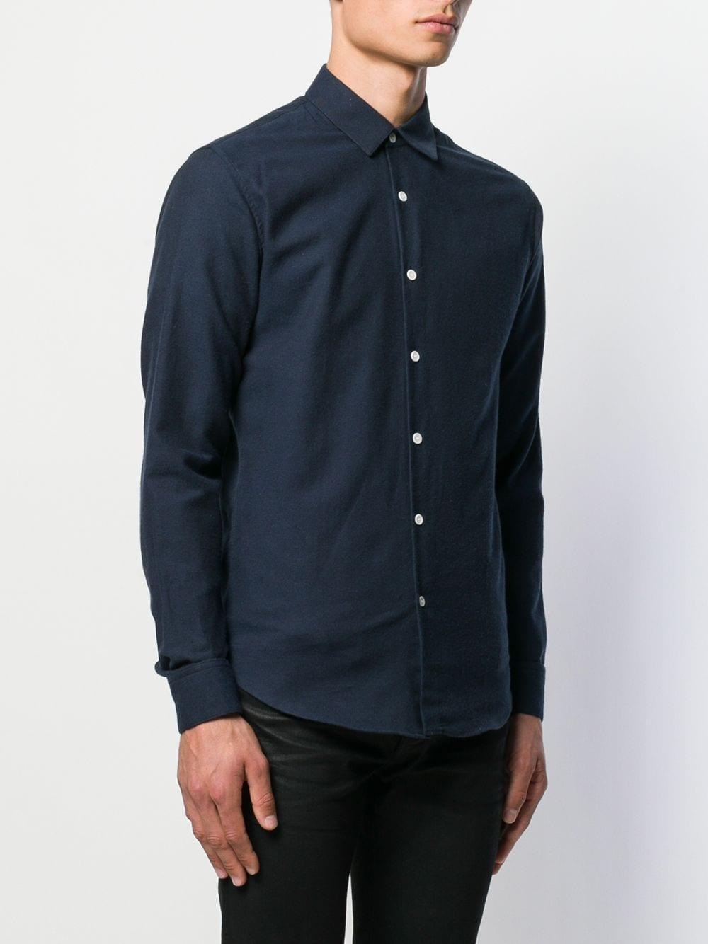 Sandro Katoen Getailleerd Overhemd in het Blauw voor heren