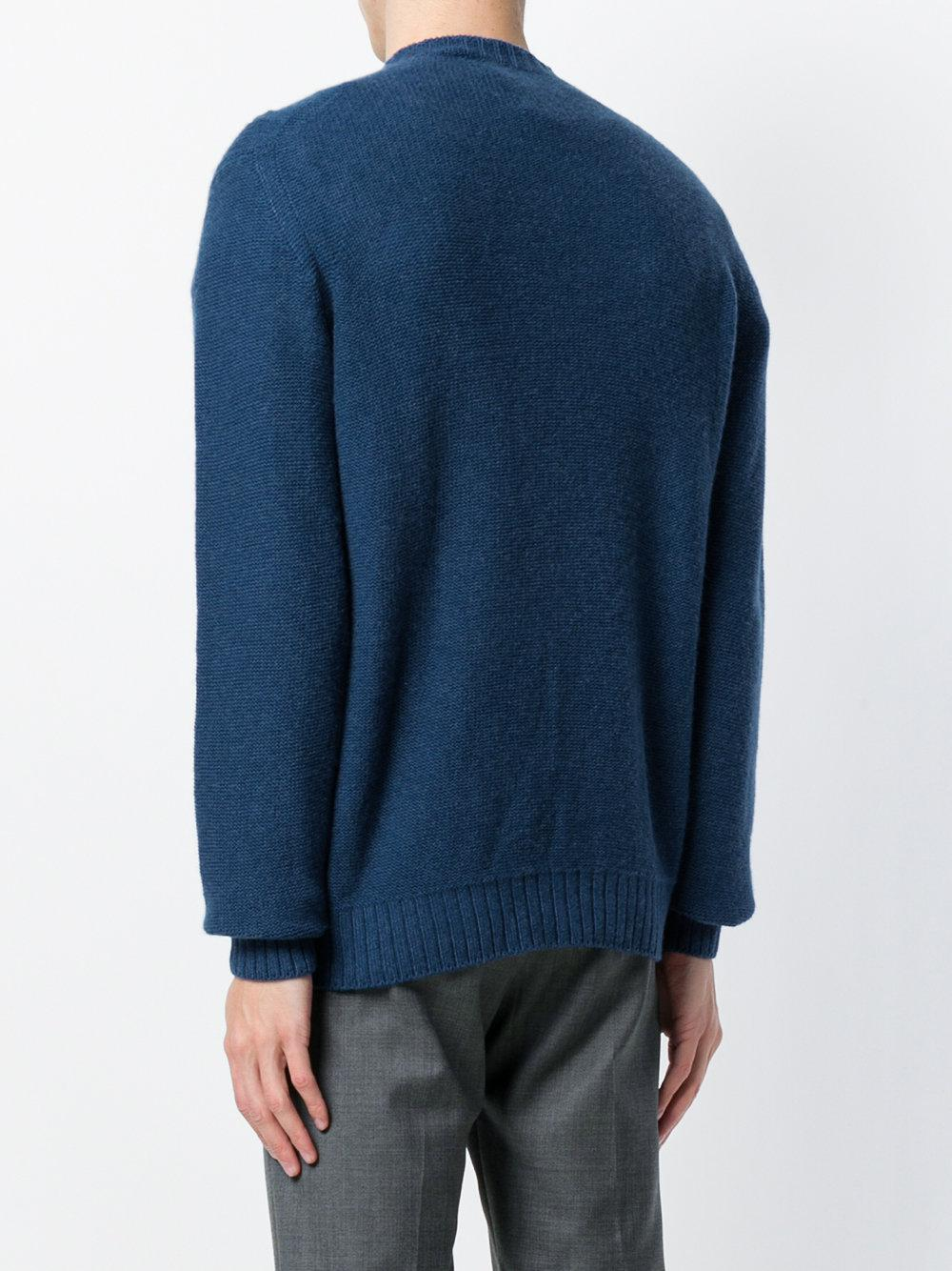Loro Piana Cashmere Textured Weave Jumper in Blue for Men