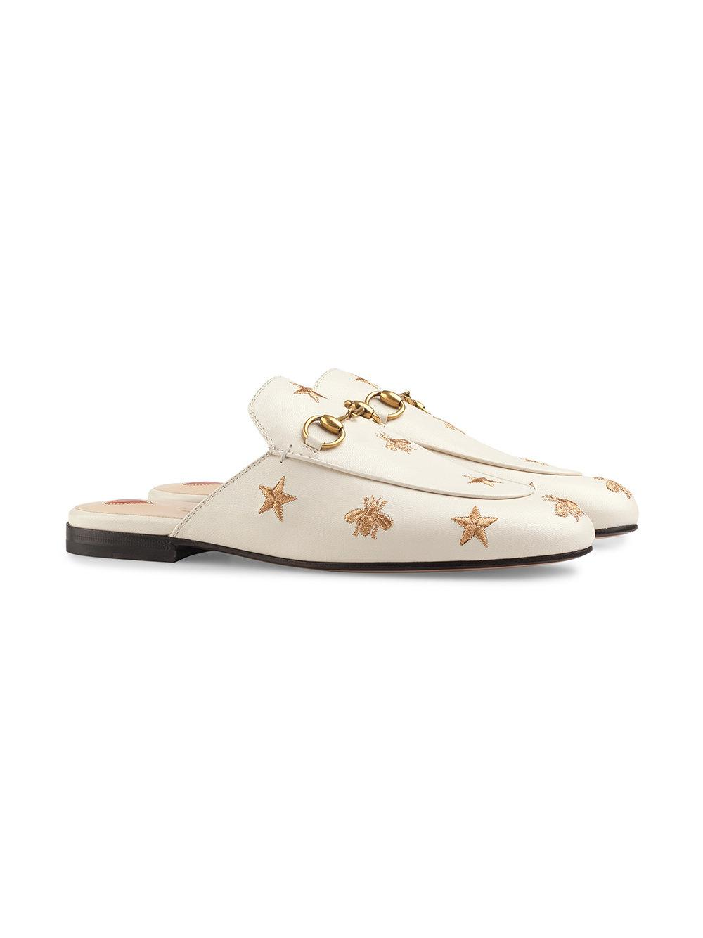 fa5a048bbcd Lyst - Gucci Princetown Horsebit-detailed Embroidered Leather Slippers in  White