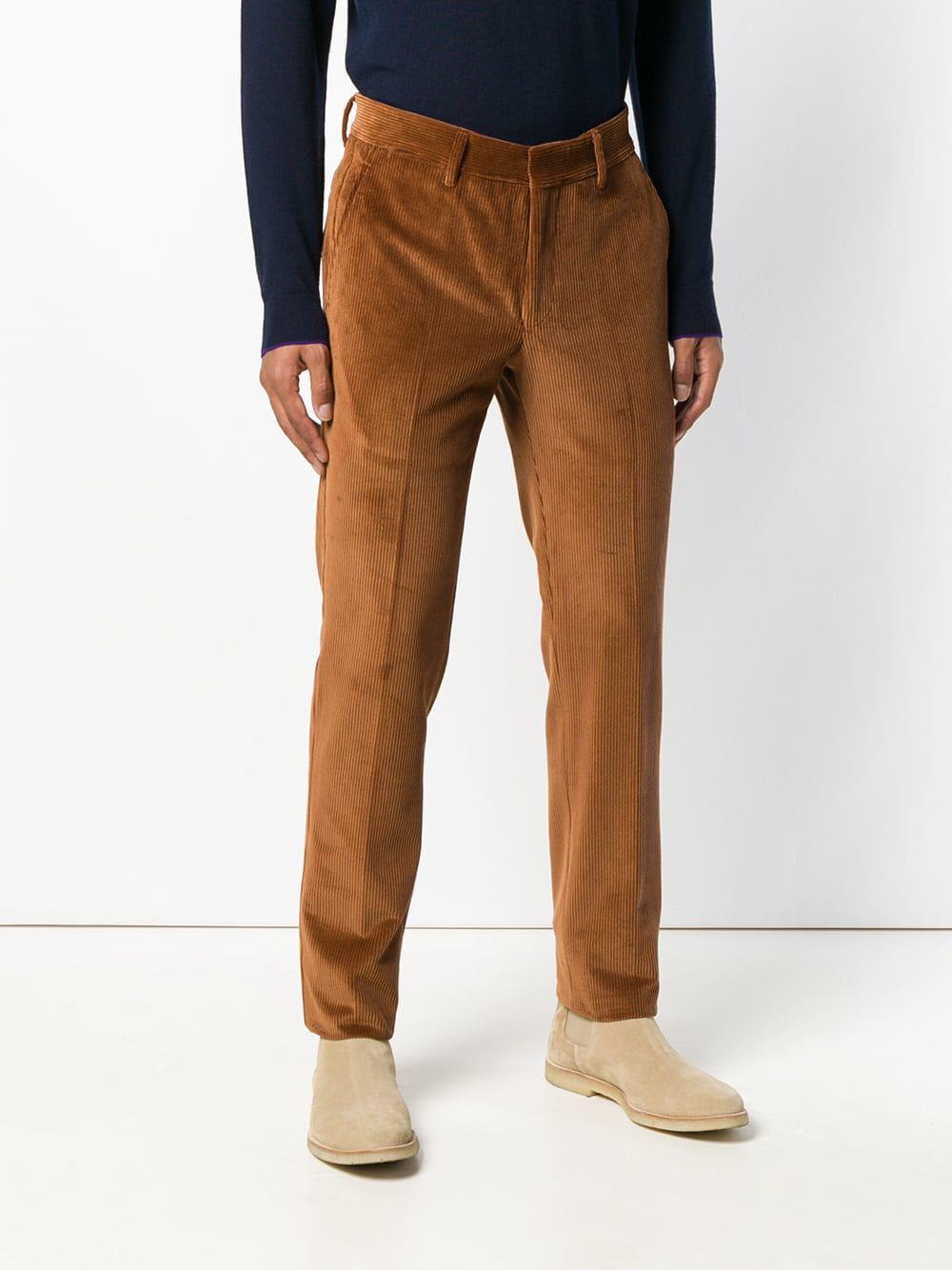 The Gigi Corduroy Trousers in Yellow & Orange (Brown) for Men