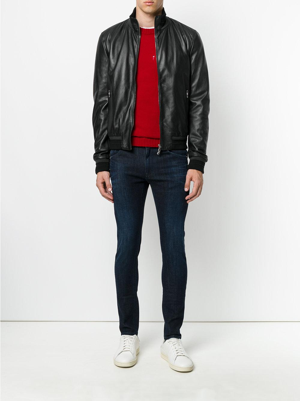 Dolce & Gabbana Leather Classic Biker Jacket in Black for Men