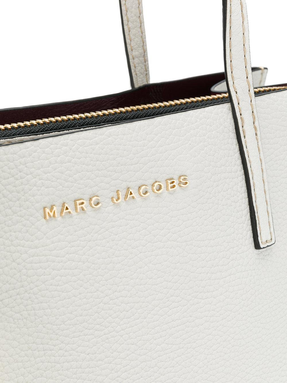 Marc Jacobs Leather The Grind Shopper Tote in White