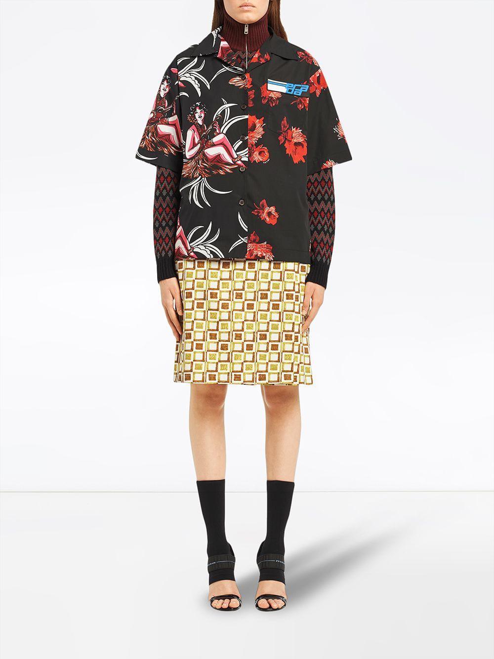 9f66fcf0 Women's Black Floral Short-sleeve Shirt