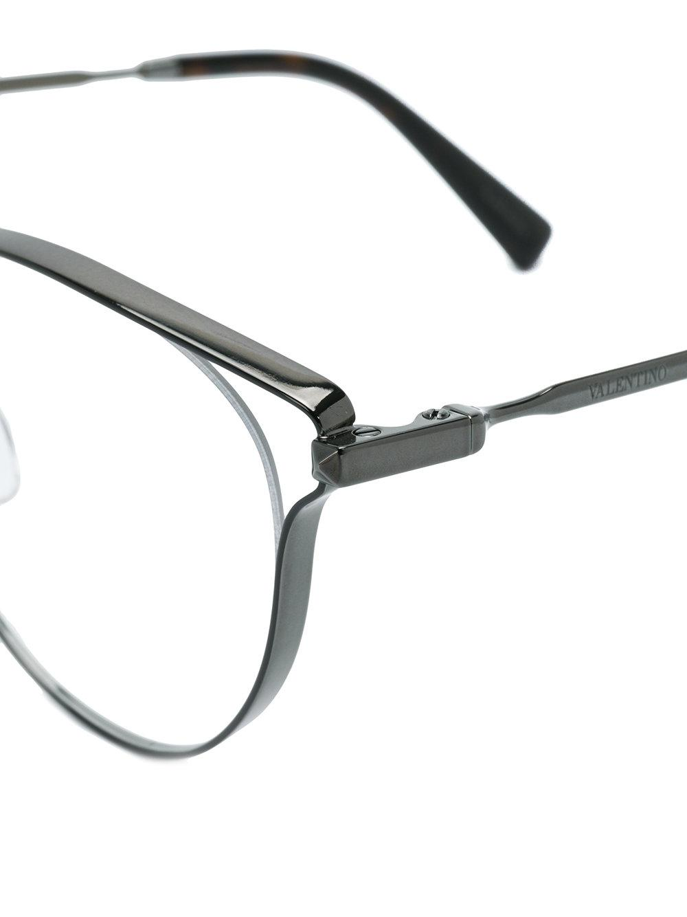 Lyst - Valentino Eyewear Round Frame Glasses in Metallic