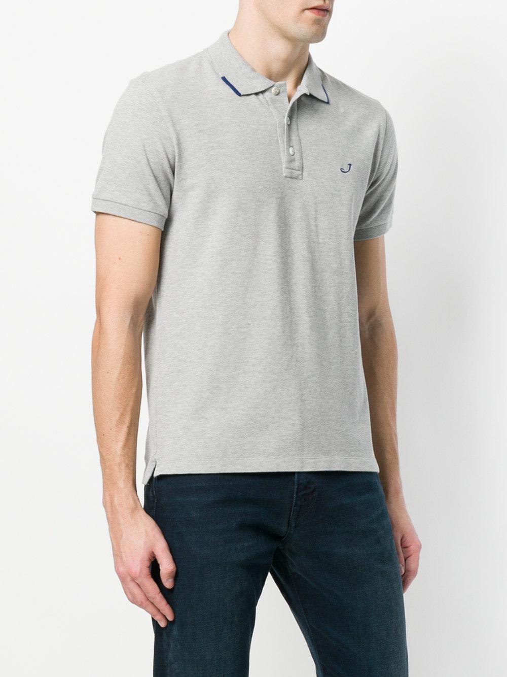 Jacob Cohen Cotton Embroidered Logo Polo Shirt in Grey (Grey) for Men