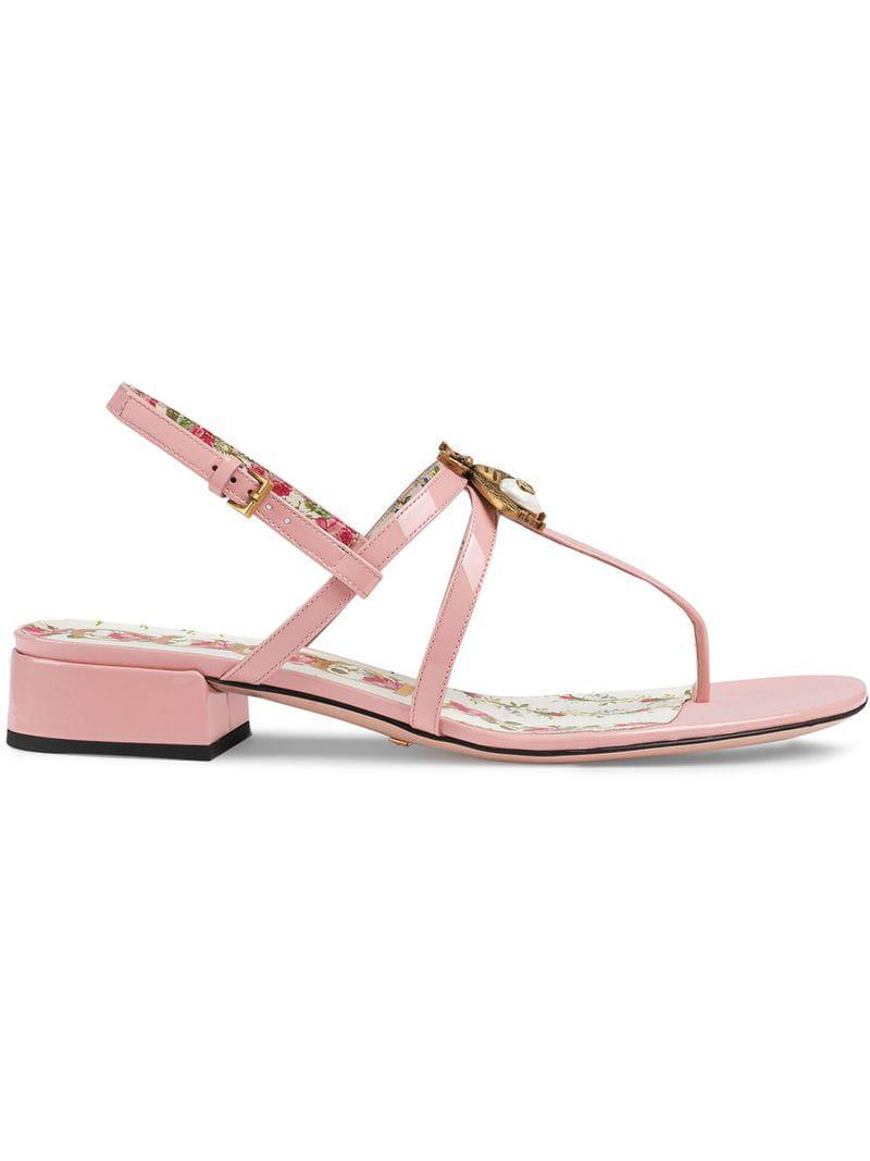 e943969b344 Gucci Patent Leather Sandals With Bee in Pink - Lyst