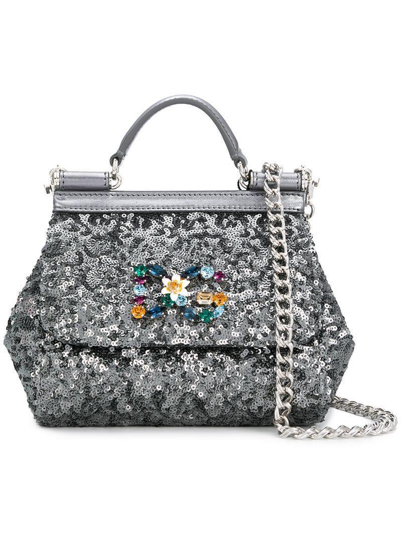 f2d472a5c71a Lyst - Dolce   Gabbana Sequinned Mini Sicily Bag in Gray