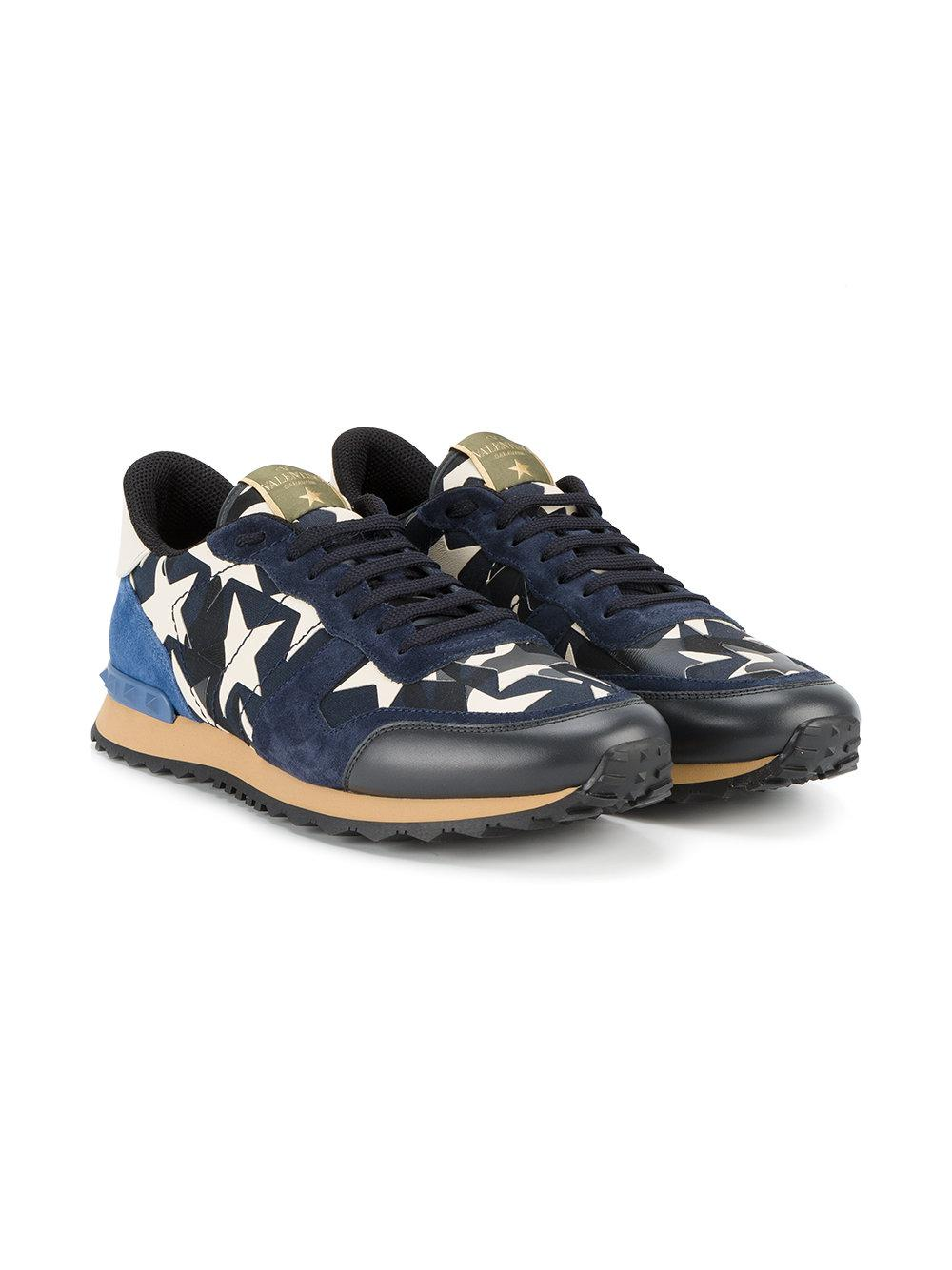 Valentino Leather Star-print Sneakers