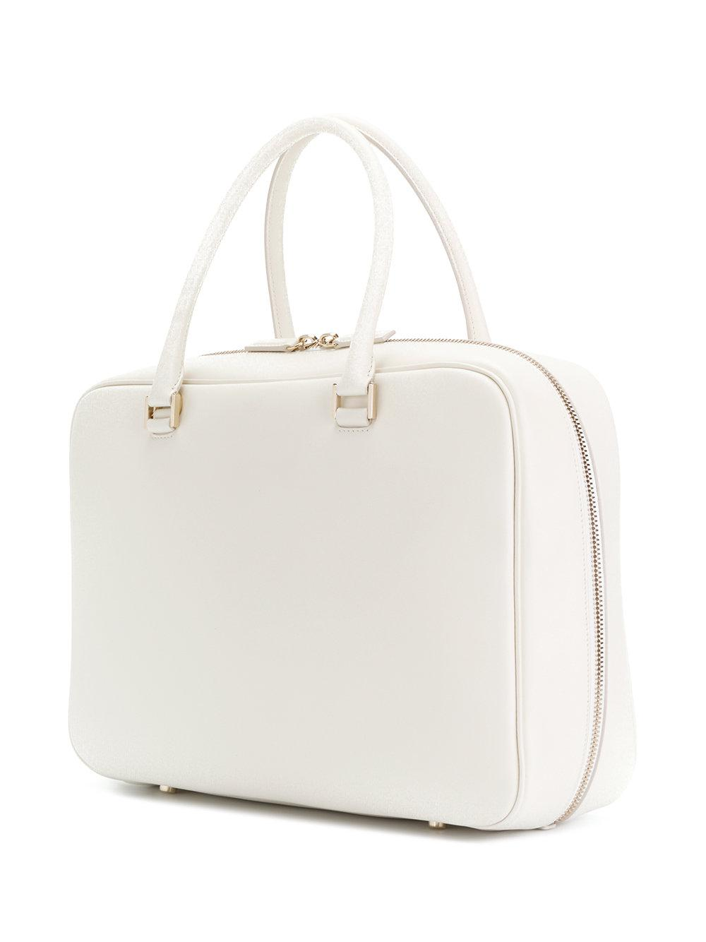 Jil Sander Leather Large Tote Bag in White