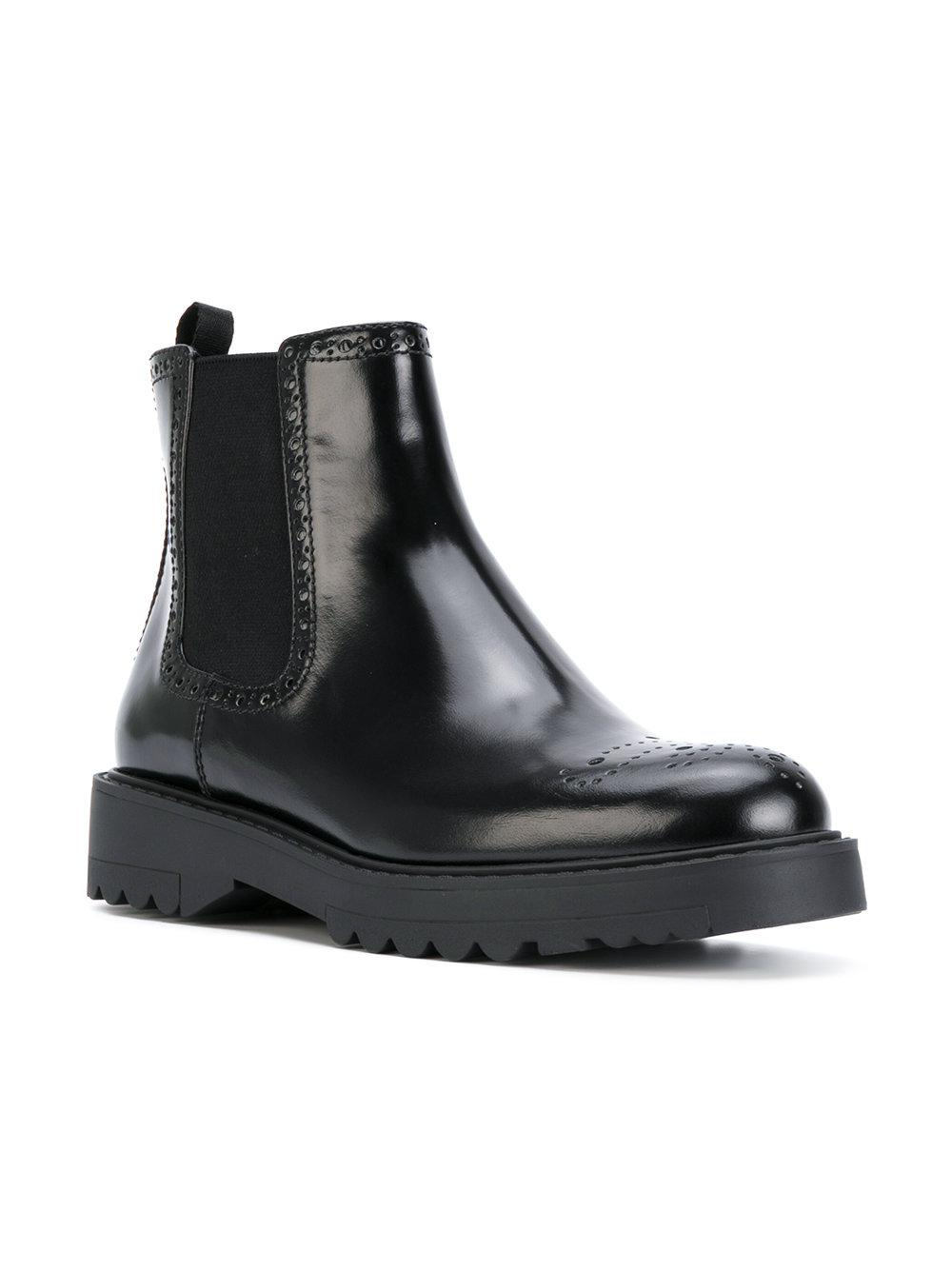 Prada Leather Brogue Ankle Boots in Black