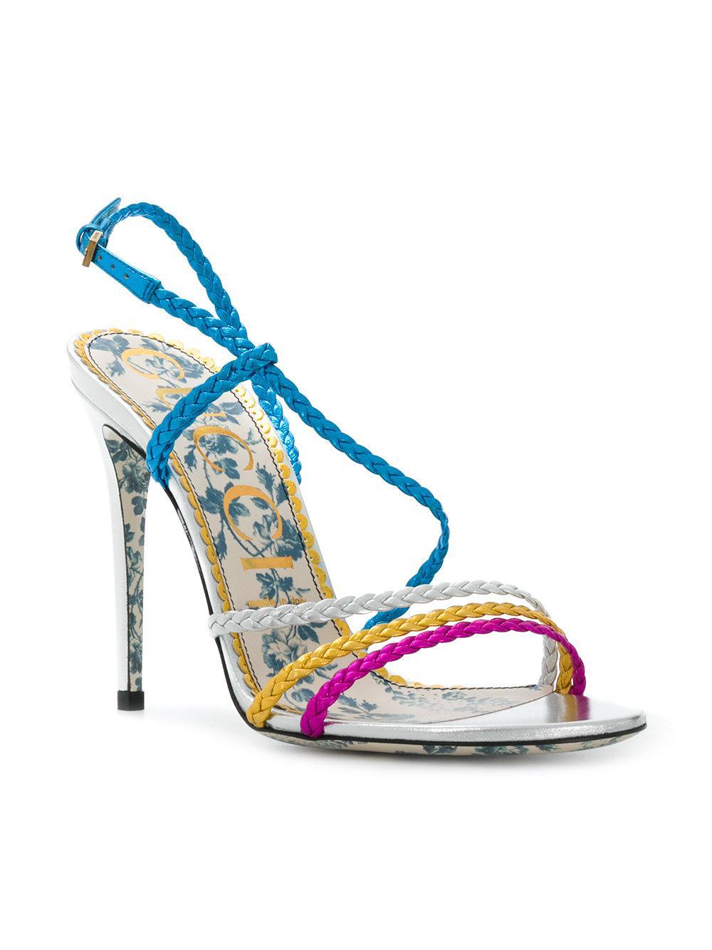 d77882f2e09 Lyst - Gucci Braided Sandals in Blue - Save 13%
