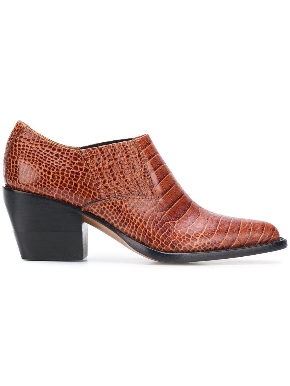 Chloé Leather Woven Pointed Ankle Boots in Brown