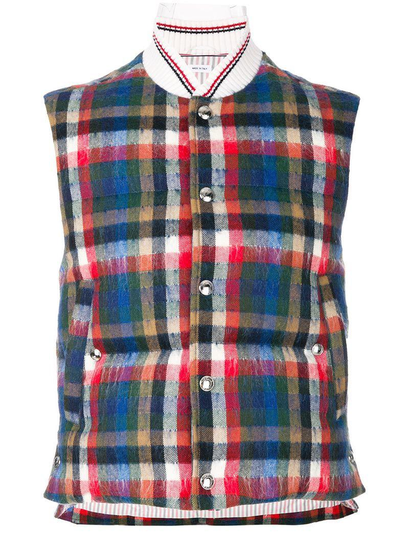 be93aefc938 Lyst - Thom Browne Gingham Tartan Down-filled Hairy Mohair Vest for Men