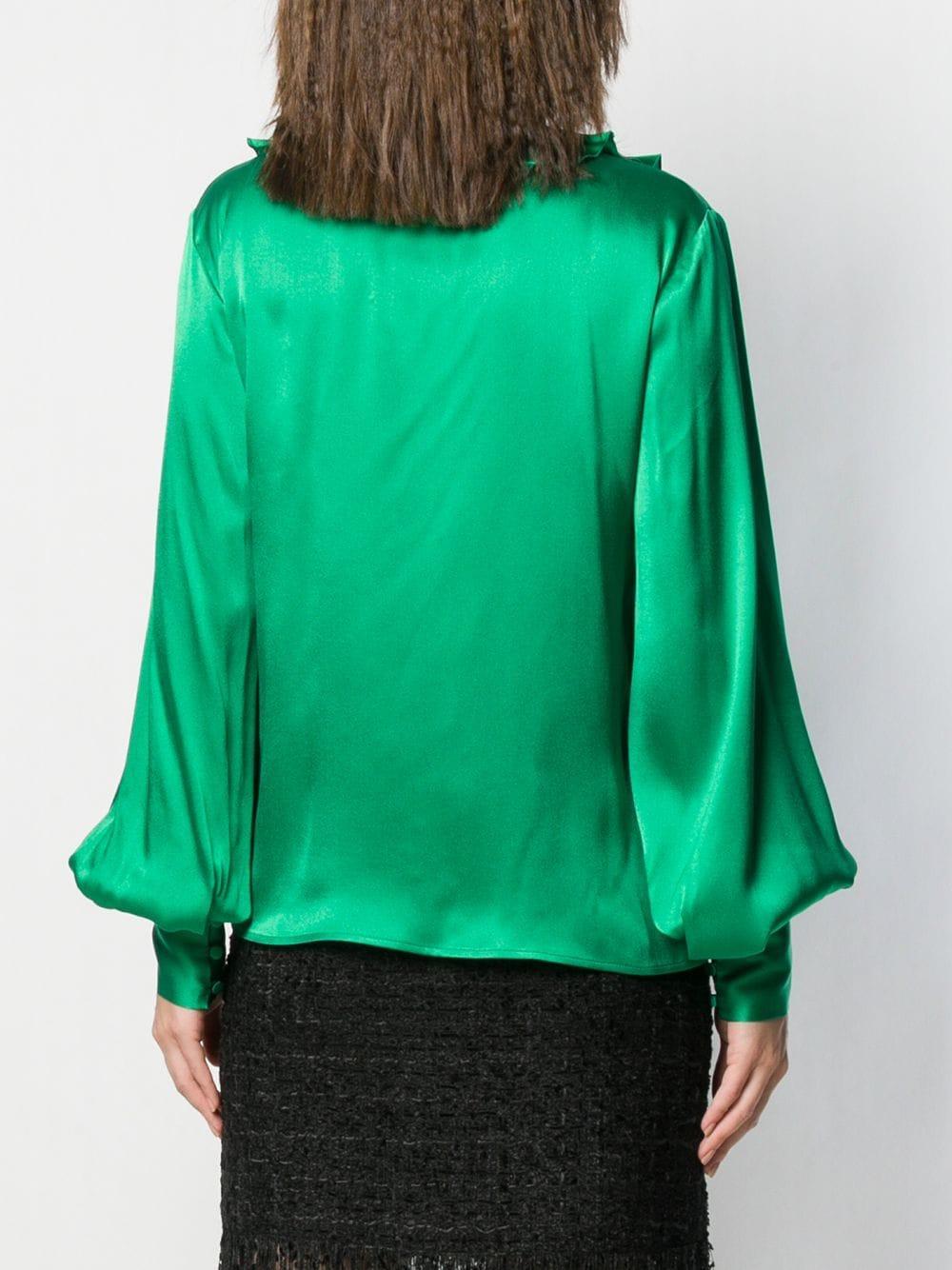 Camisa con cuello con lazo y volantes MSGM de Seda de color Verde
