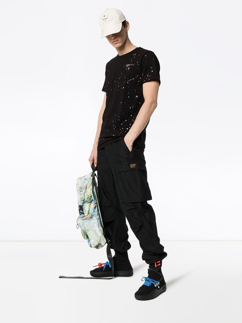 bdf8587ece50 Lyst - Off-White c o Virgil Abloh Paint Splattered Cotton T-shirt in Black  for Men - Save 26%