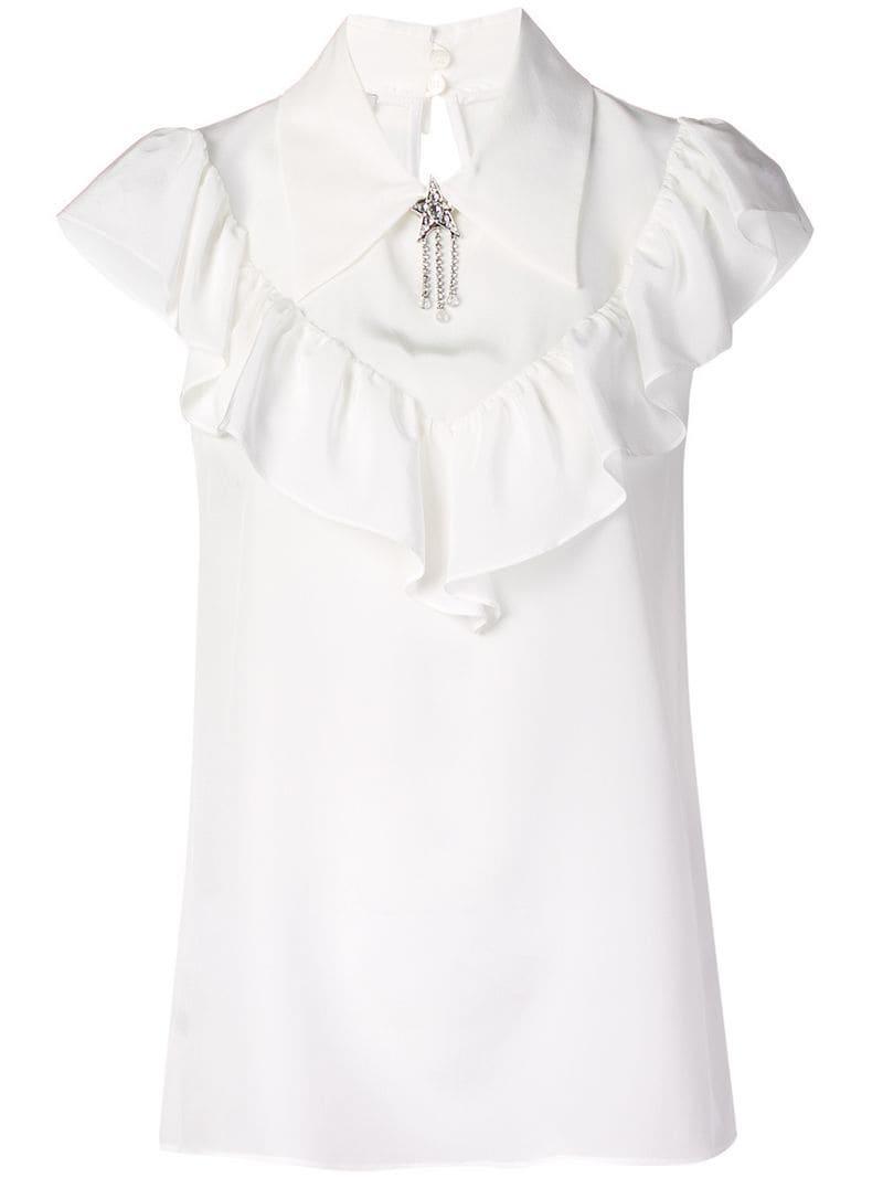 ccce19a185d0 Lyst - Miu Miu Crepe De Chine Top in White