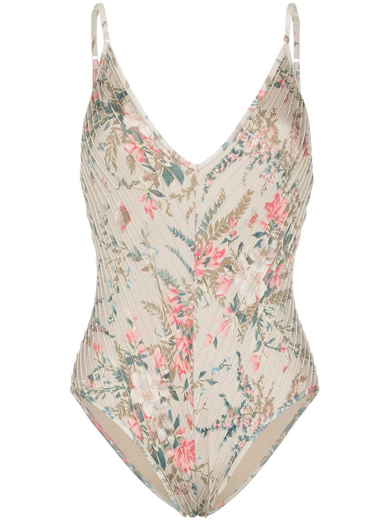 Bayou Pintuck floral print swimsuit Zimmermann Top-Rated 2018 New Cheap Online Huge Surprise For Sale Clearance Store Cheap Online Cheap Sale Footlocker Finishline JqKkwus
