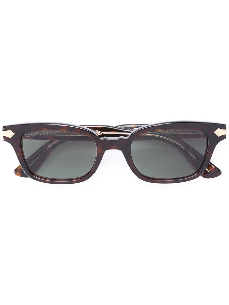 3bf6bf1e26b Gucci Western Accent Rectangular Sunglasses in Brown - Lyst