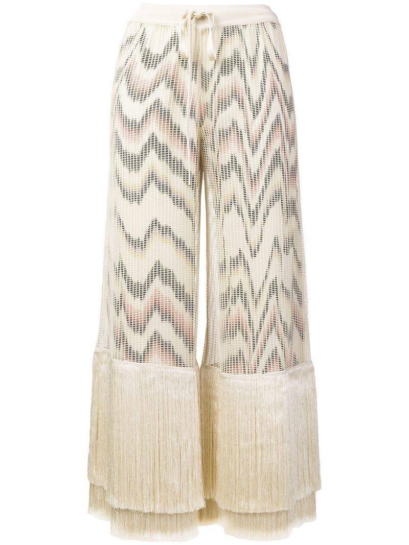 Fringe Trousers In Missoni Lyst Natural Cropped 5Rj34AL