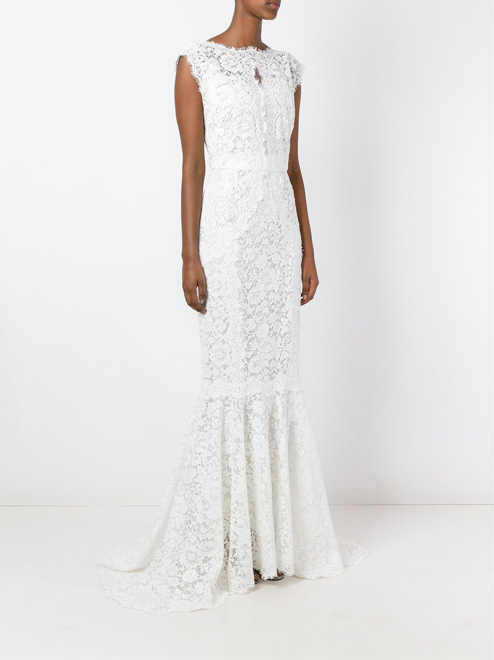 Dolce Gabbana White Lace Fish Tail Gown Lyst View Fullscreen