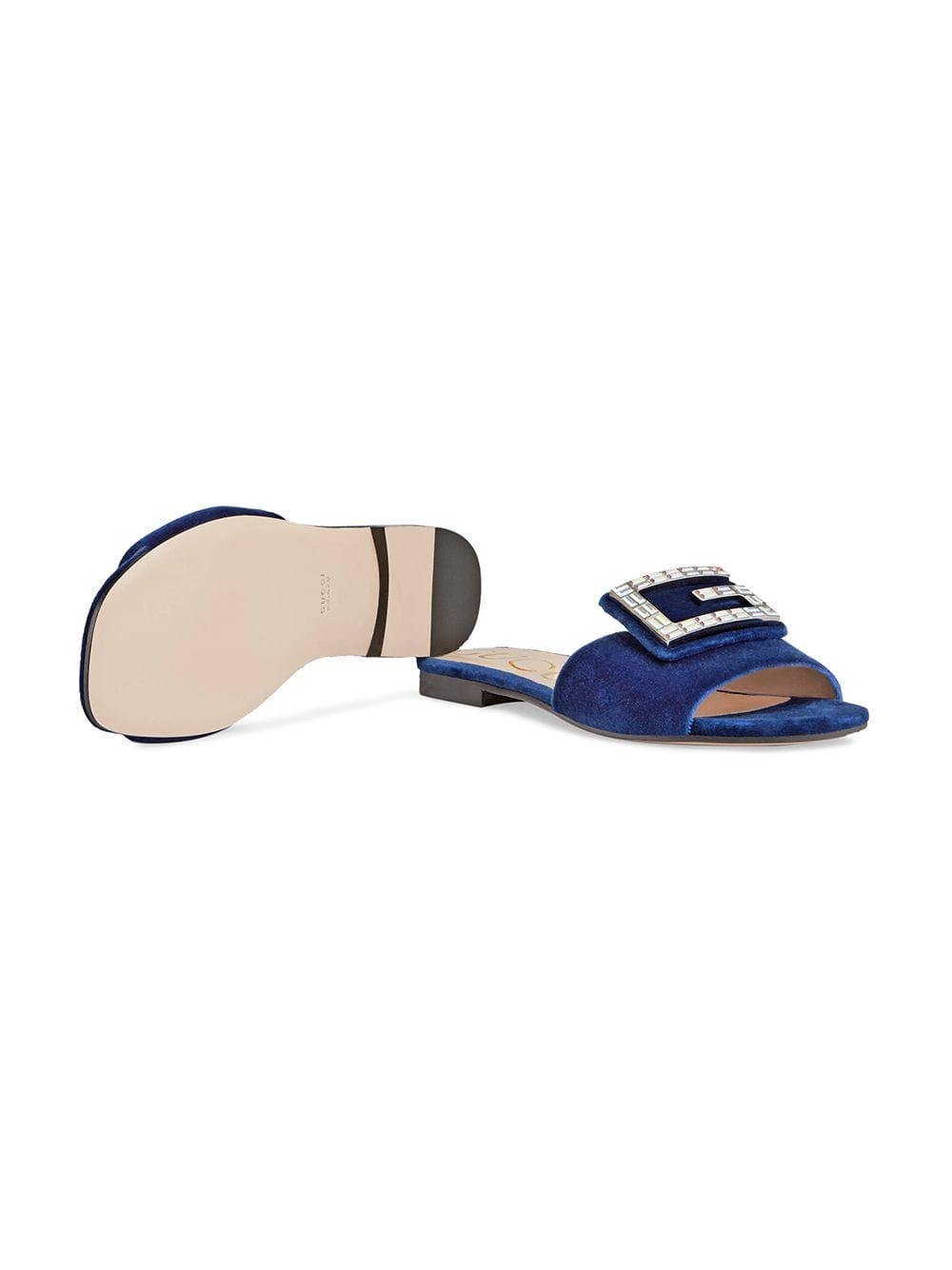 9a79d3e3b Gucci - Blue Velvet Slides With Crystal G - Lyst. View fullscreen