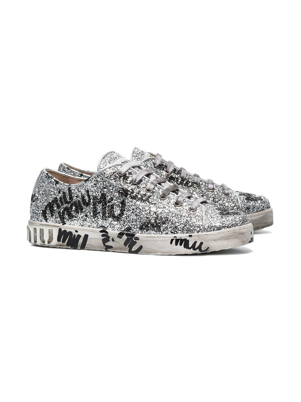 Miu Miu Silver Logo Graffiti Glitter Leather Sneakers in Metallic