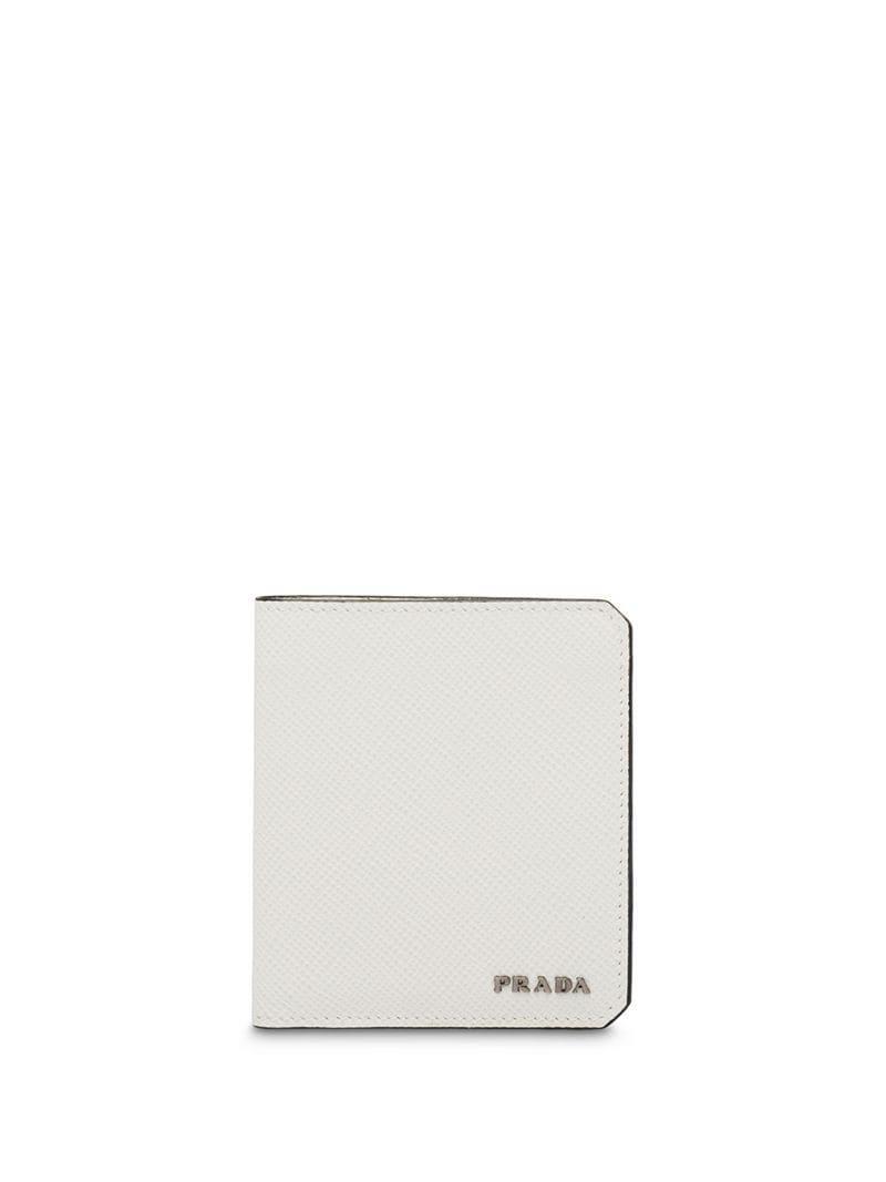 02b1bd27865b Prada - White Logo Plaque Wallet for Men - Lyst. View fullscreen