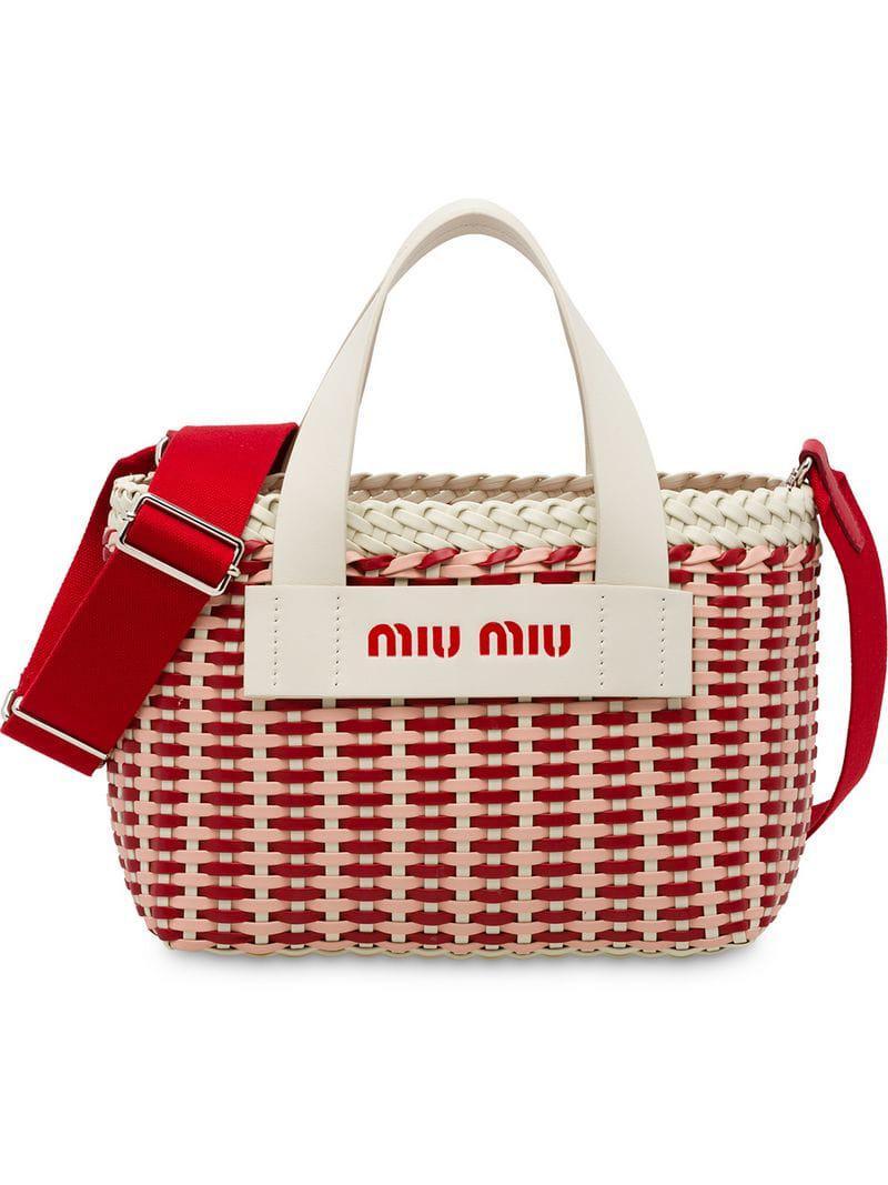 Miu Miu Woven Tote Bag in White - Lyst ce3d4e976819d