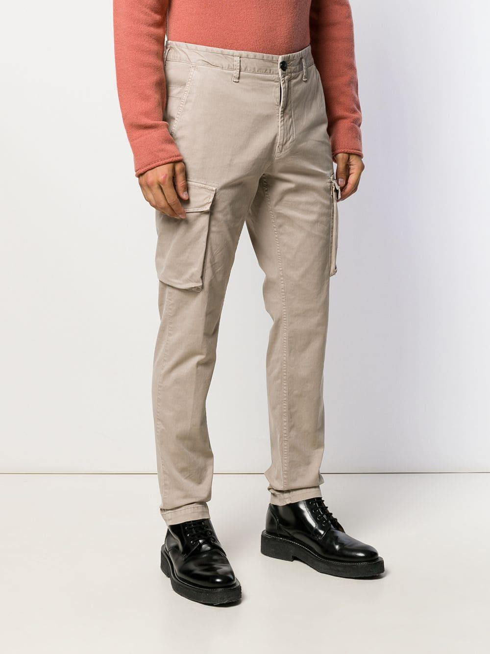 Stone Island Cotton Cargo Trousers in Natural for Men - Lyst