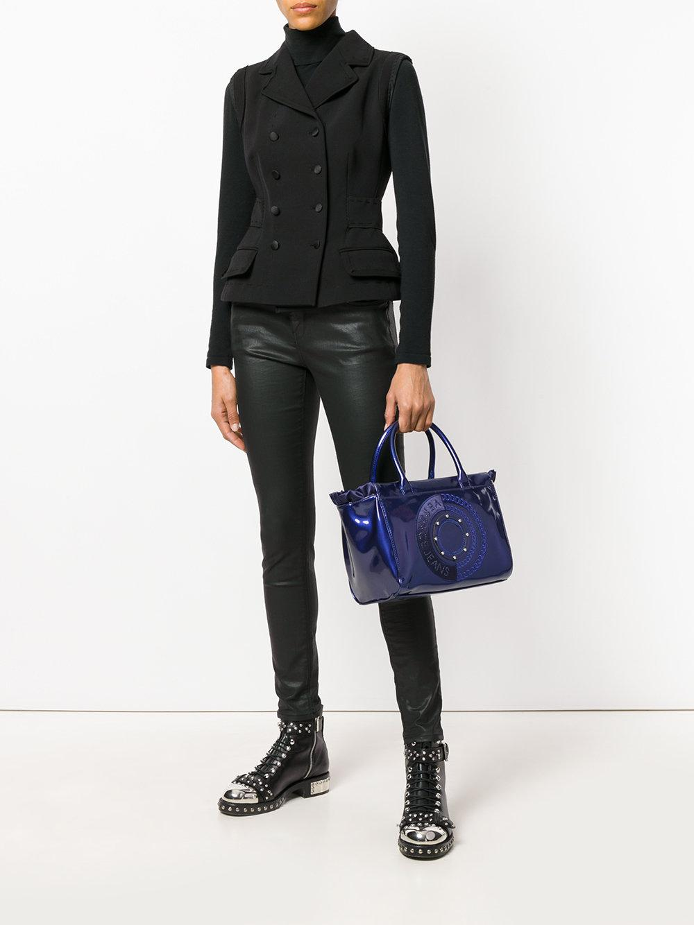 Versace Jeans Couture Denim Logo Embroidered Cross-body Bag