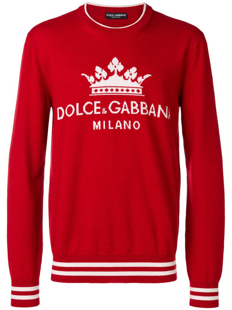 93295c401bb Dolce   Gabbana Logo Embroidered Sweater in Red for Men - Lyst