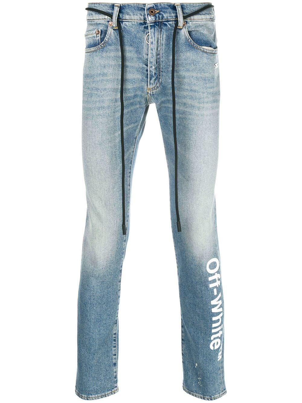 84d52c6b Off-White c/o Virgil Abloh Logo Slim-fit Jeans in Blue for Men - Lyst