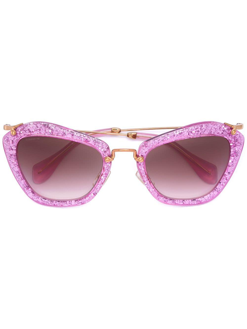 Miu Miu Noir Sunglasses in Pink & Purple (Pink)