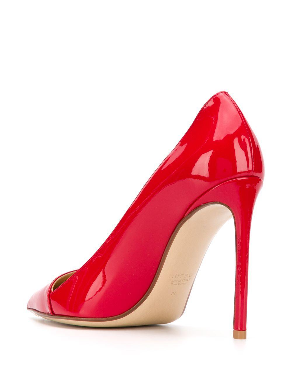 Zapatos de tacón de charol con puntera en punta Francesco Russo de Cuero de color Rojo