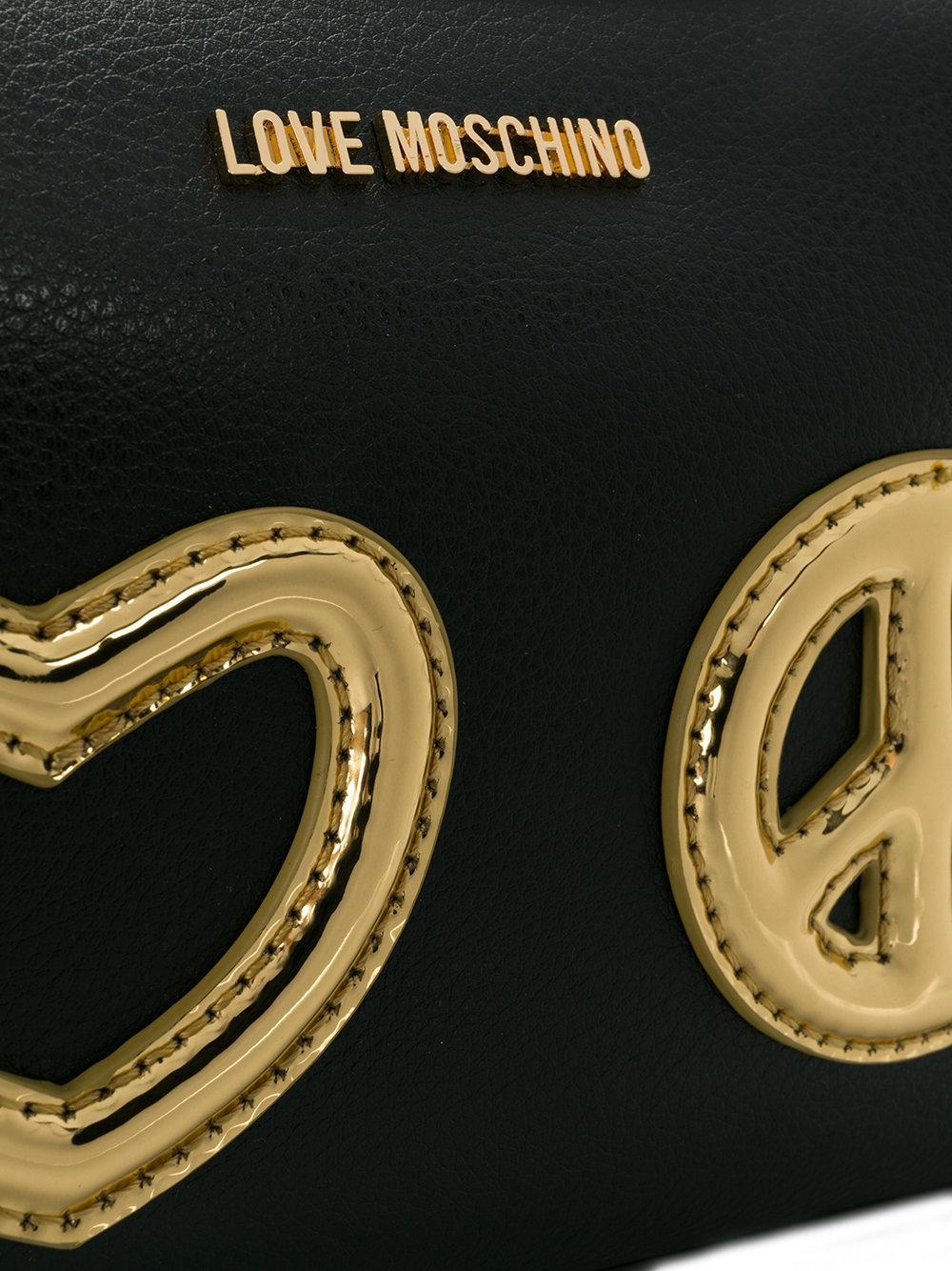 Love Moschino Leather Appliqué Hearts Crossbody Bag in Black