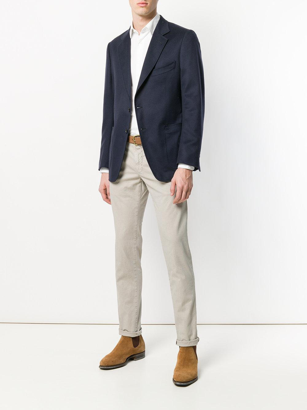 Incotex Cotton Slim Fit Trousers in Natural for Men