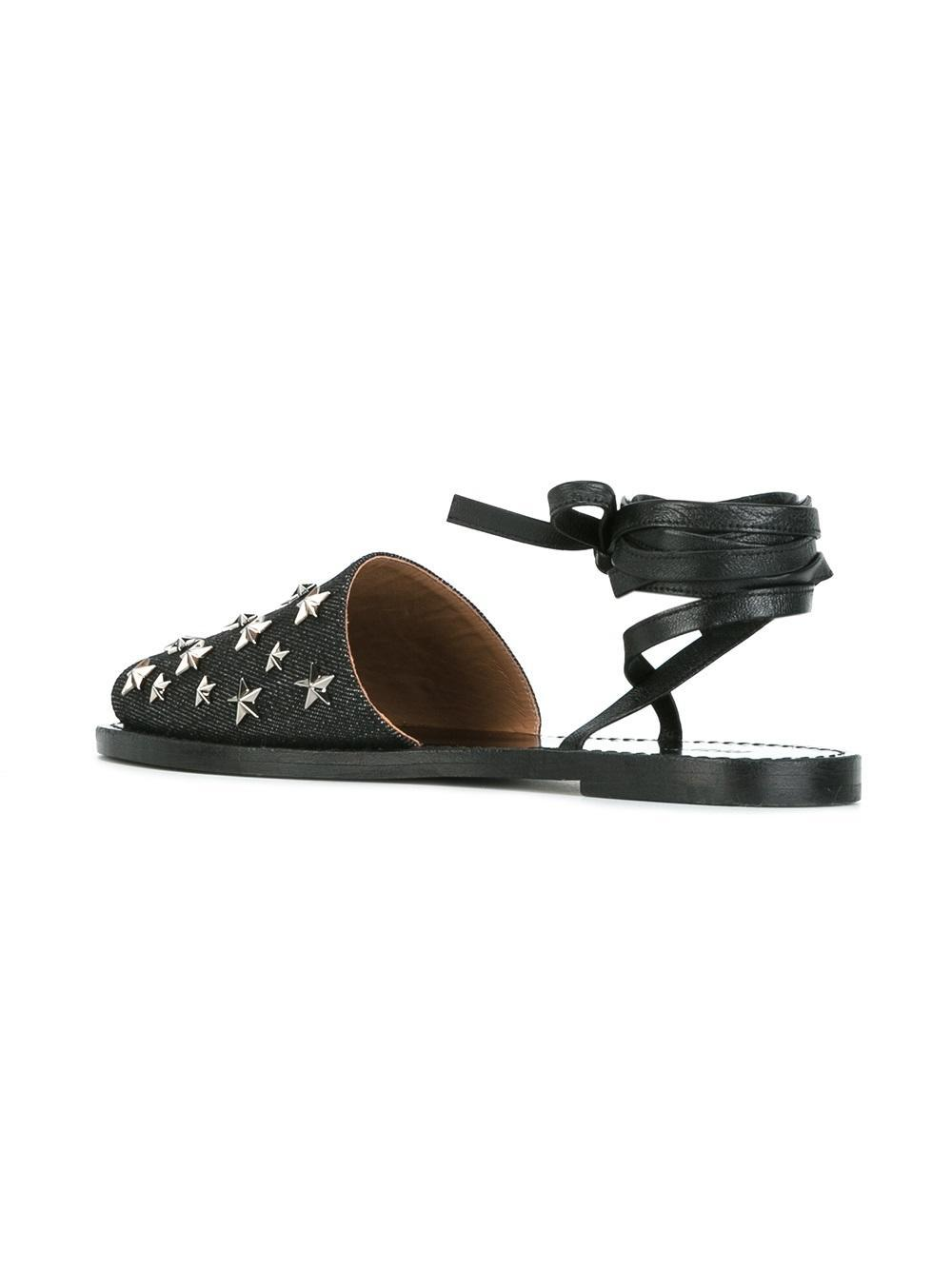94360a879 RED Valentino Star Studded Sandals in Black - Lyst